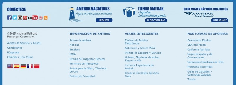 Banner Amtrak in Spanish